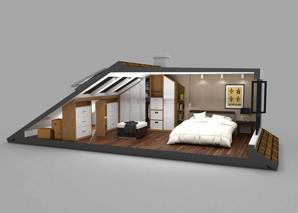 loft conversion - master bedroom with storage space ...