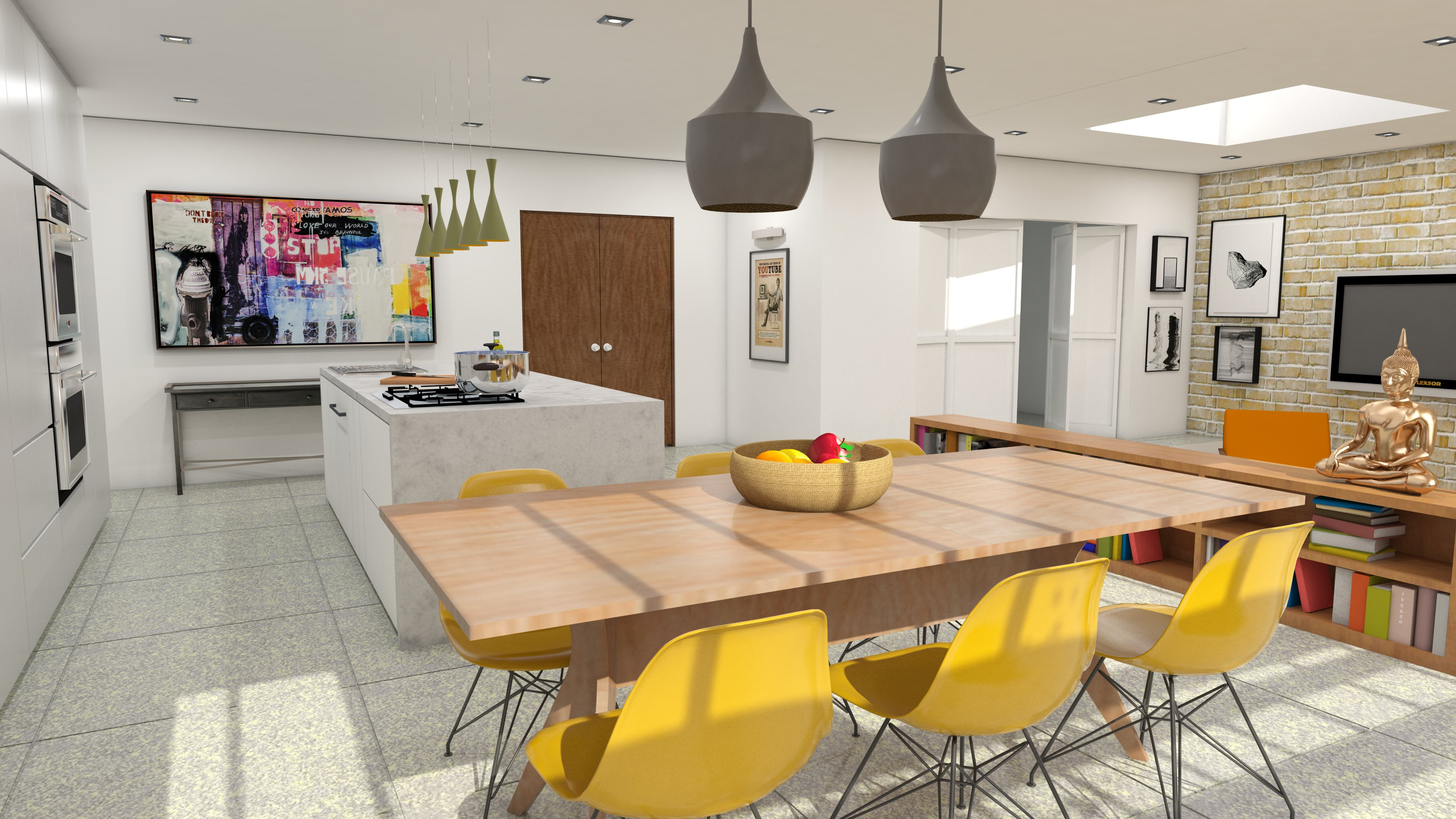 An island kitchen
